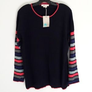 New Nwt Boden Navy Color Block Sleeve Sweater